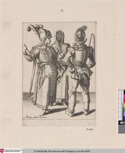 [Ein orientalischer Adliger, ein Bauer mit einem Hahn und eine verschleierte Frau; An Oriental Grandee, a Peasant with a Cock Attached to His Belt and a Veiled Woman Playing the Rumbling-Pot]