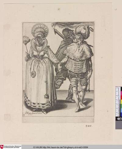 [Maskiertes Paar und Fackelträger; A Man with a Turban Leading a Woman who's Wearing Peacock Feathers, behind them a Torchbearer]