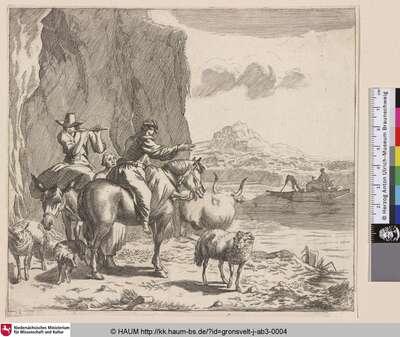 [Eine Frau auf einem Pferd, dahinter ein Flöte spielender Mann auf einem Esel, im Hintergrund Fischer auf einem Boot]
