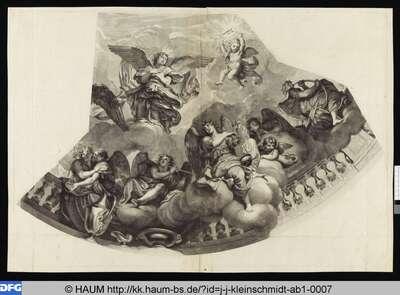 Teil einer Engelsglorie: Um eine Balustrade versammelte Engel und Engel mit Flamme auf dem Kopf in Wolken