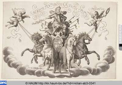 [Kaiser Ferdinand II. auf der Quadriga; Allegory on a man in harnash on a charriot (=Leopold)]