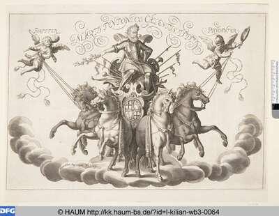 [Kaiser Ferdinand II auf einer Quadriga; Allegory of a man in harnash on a charriot