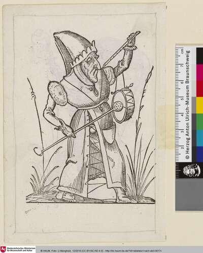 Rabelais, Les Songes Drolatiques de Pantagruel, XXXIV [Karikatur eines Mannes ind Narrenkostüm, der auf einer Flöte und einer Trommel musiziert]