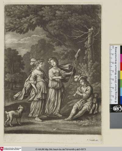 [Zwei Frauen, ein Flöte spielender junger Mann und ein Hund auf einer Waldlichtung]