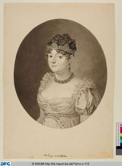 Königin Katharina von Westphalen, Prinzessin von Württemberg. Halbfigur in einem Oval