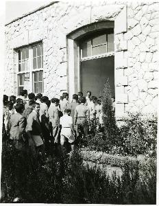Students entering the building