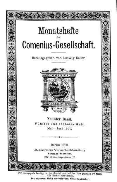Monatshefte der Comenius-Gesellschaft, Mai - Juni 1900, 9. Band, Heft 5-6