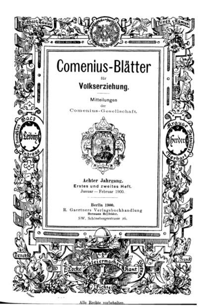 Comenius-Blätter für Volkserziehung, Januar - Februar 1900, VIII Jahrgang, Heft. 1-2