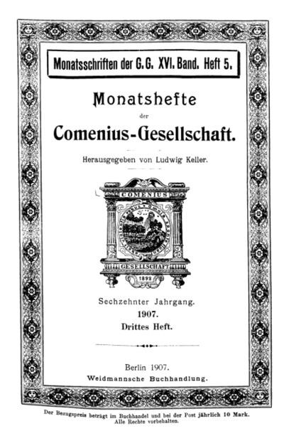 Monatshefte der Comenius-Gesellschaft, 15. Mai 1907, 16. Band, Heft 3