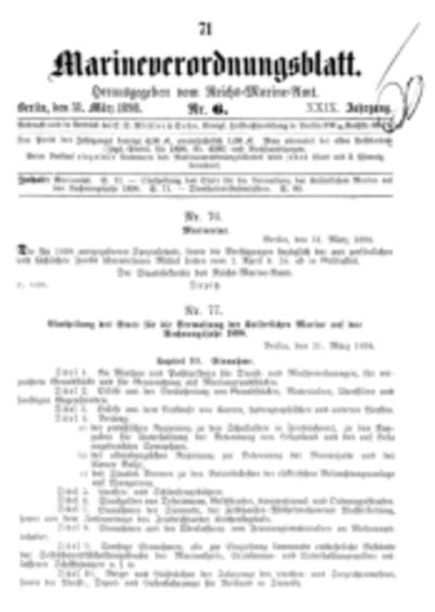 Marineverordnungsblatt, Nr. 6, 1898