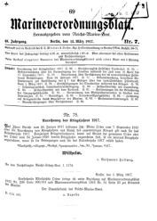 Marineverordnungsblatt, Nr. 7, 1917