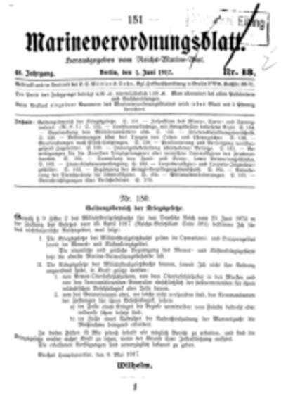 Marineverordnungsblatt, Nr.13, 1917