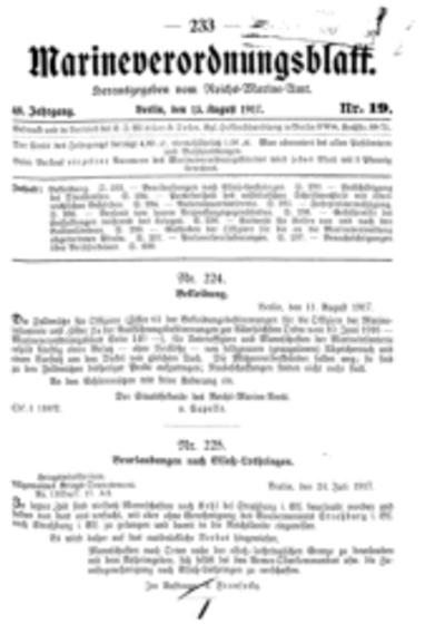 Marineverordnungsblatt, Nr.19, 1917