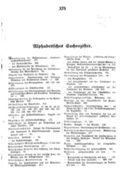 Alphabetisches Sachregister 1917
