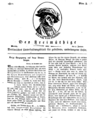 Der Freimüthige, oder Berlinisches Unterhaltungsblatt für gebildete, unbefangene Leser, 7 Januar 1811, Nr. 5