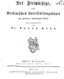 Der Freimüthige, oder Berlinisches Unterhaltungsblatt für gebildete, unbefangene Leser, März 1811, Inhalt