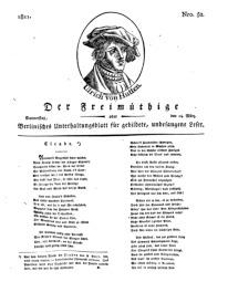 Der Freimüthige, oder Berlinisches Unterhaltungsblatt für gebildete, unbefangene Leser, 14 März 1811, Nr. 52