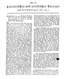 Literarischer und artistischer Anzeiger zum Freimüthigen, für 1811, Nr. II