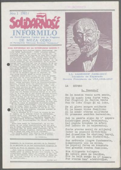 Informator Regionalnego Ośrodka Badań Społecznych Środkowego Nadodrza Niezależnego Samorządnego Związku Zawodowego Solidarność, nr 1