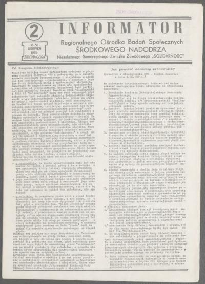 Informator Regionalnego Ośrodka Badań Społecznych Środkowego Nadodrza Niezależnego Samorządnego Związku Zawodowego Solidarność, nr 2