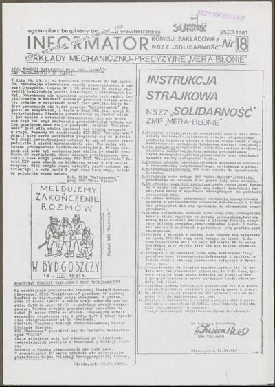 Informator Komisji Zakładowej NSZZ Solidarność, nr 18