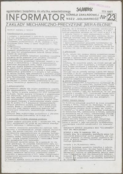 Informator Komisji Zakładowej NSZZ Solidarność, nr 23