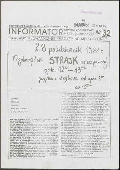 Informator Komisji Zakładowej NSZZ Solidarność, nr 32