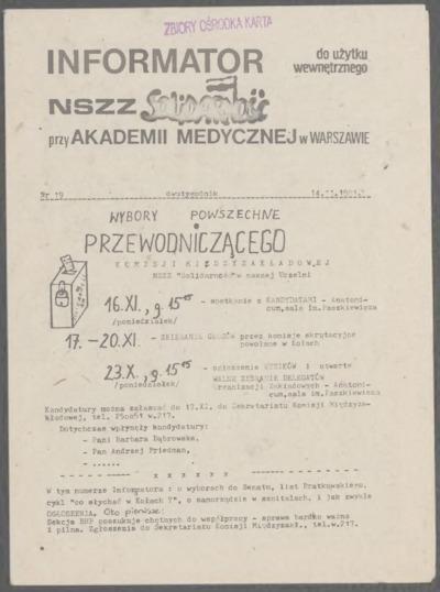Informator NSZZ Solidarność przy Akademii Medycznej w Warszawie, nr 17
