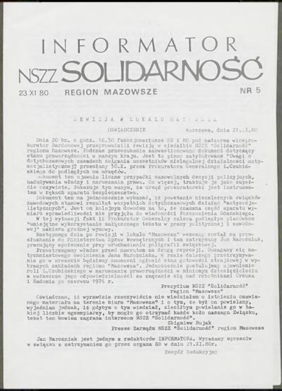 Informator NSZZ Solidarność Region Mazowsze, nr 5