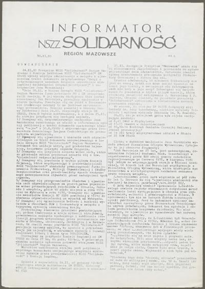Informator NSZZ Solidarność Region Mazowsze, nr 6