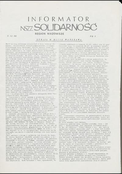 Informator NSZZ Solidarność Region Mazowsze, nr 7