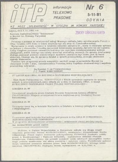 ITP - Informacje Teleksowo-Prasowe, nr 6