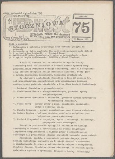 Jedność Stoczniowa. Tygodnik NSZZ Solidarność Stoczni im. Warskiego, nr 75
