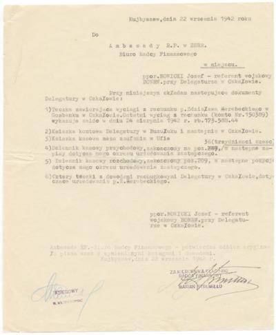 Pismo do Ambasady RP w ZSRR [nazwa red.]