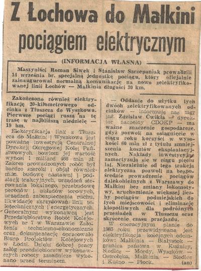 17.09.1982. Artykuł Z Łochowa do Małkini pociągiem elektrycznym