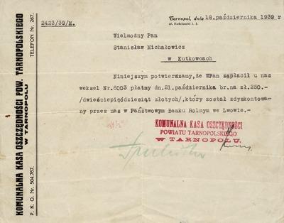 10 października 1939. Potwierdzenie zapłacenia weksla