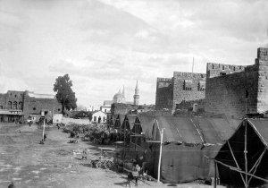 Damascus, Blick in den Hof der Burg im Hintergrund die große Moschee