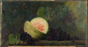 Melone mit blauen Trauben