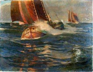 Frachtensegler (Tjalk) in stürmischer See