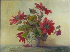 Weihnachtssterne in bauchiger Vase