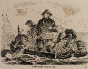 Fischergruppe auf Helgoland