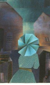 Frau mit blauem Schirm