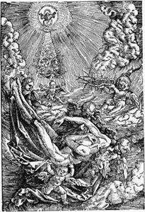 Engel tragen den Leichnam Christi zum Himmel