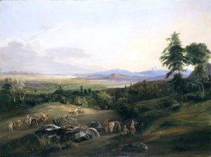Das Hochtal von Mexiko mit den Vulkanen Popocatépetl und Ixtaccihuatl
