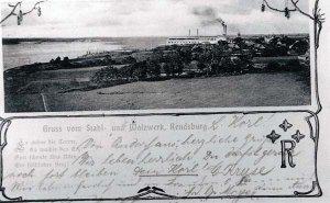 Grußkarte vom Stahl- und Walzwerk Eisenhütte Holstein 1902