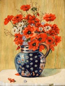 Vase mit Mohnblumen und Margeritten