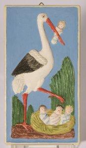 Gebäckmodeln, Hochzeitsgebäck, Storch mit Wickelkind im Schnabel