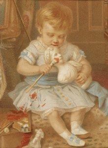 o.T.; Kleines Mädchen, Puppe mit roter Farbe bemalend