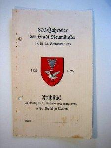 Einladungskarte zu einem Frühstück anlässlich der 800-Jahrfeier