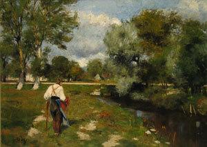 Landschaft mit einem alten Bauern